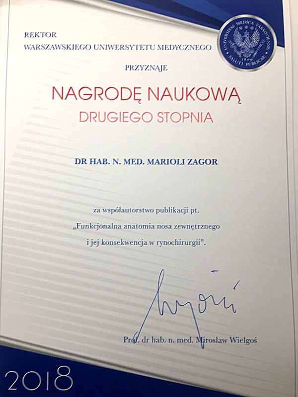 Mariola Popko-Zagor, Scientific Award